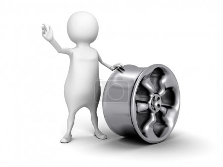 Photo for White 3d man with metallic car wheel. 3d render illustration - Royalty Free Image