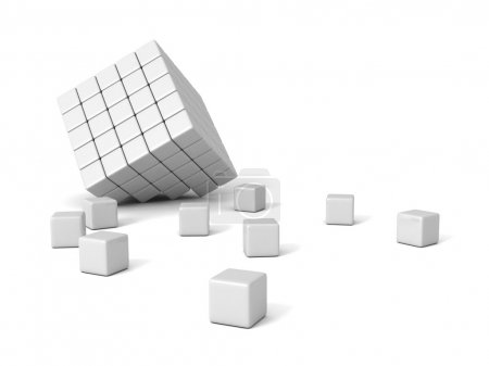 broken white block shape organized cubes