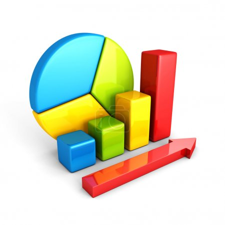 Photo for Statistics analysis business colorful shiny bar graph. 3d render illustration - Royalty Free Image