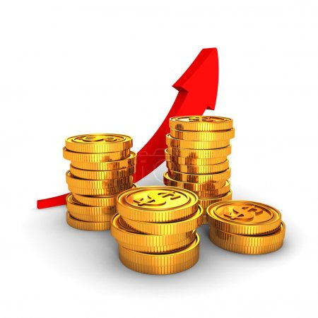 Golden dollar coins with growing arrow