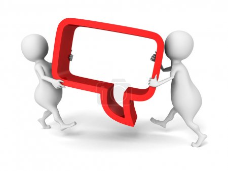White 3d people carry red speech bubble