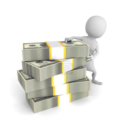 white 3d man with hundred dollar bills