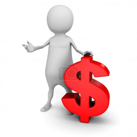 Photo for White 3d man with red dollar currency symbol. 3d render illustration - Royalty Free Image