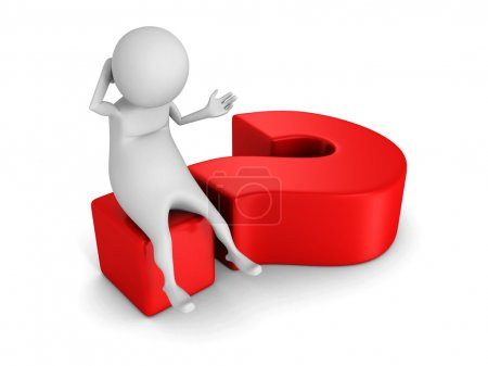 White 3d man sitting on big red question mark