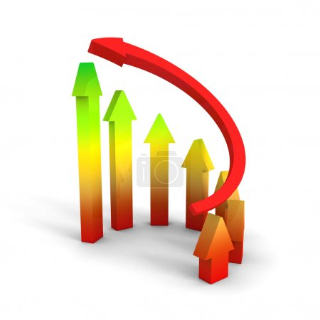 Business Growth Colorful Bar Diagram with red arrow