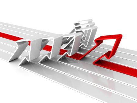 Photo pour Flèche rouge succès leader du groupe d'équipe concept blanc. Illustration de rendu 3d isolée sur fond blanc - image libre de droit
