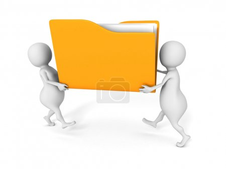 Two people carry yellow office file folder