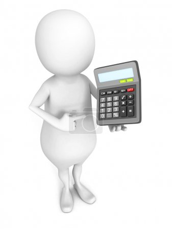 Man with office calculator