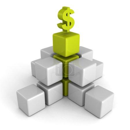 Photo for Green dollar financial success bar chart graph. 3d render illustration - Royalty Free Image