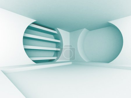 Photo for Abstract Blue Futuristic Design Interior Architecture Background. 3d Render Illustration - Royalty Free Image