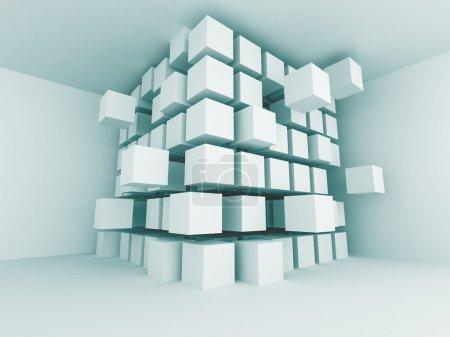 Photo pour Résumé Blue Interior Blocks Design Background. Illustration de rendu 3d - image libre de droit