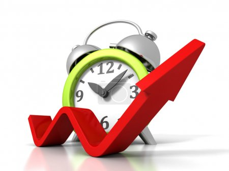 Alarm Clock With Rising Up Growing Arrow