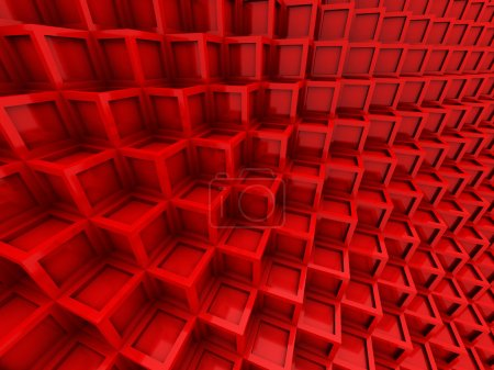 Abstract Red Cube Blocks Background