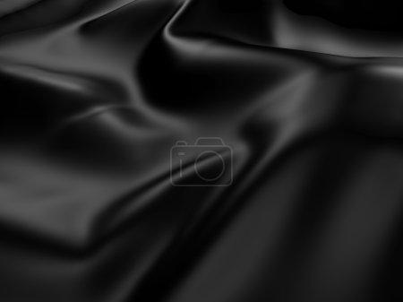 Photo pour Fond Abstrait tissu Satin de soie noir. Illustration de rendu 3D - image libre de droit