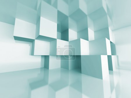 Photo for Abstract Cube Design Room Interior Architecture Background. 3d Render Illustration - Royalty Free Image