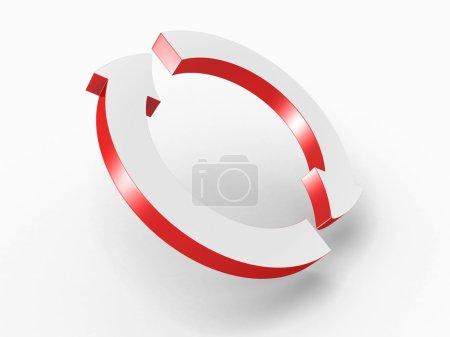 Photo pour Deux flèches rouges cyclées rondes. Illustration de rendu 3d - image libre de droit