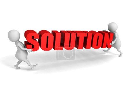 Photo pour Les gens blancs 3d portent le mot rouge SOLUTION. Concept de réussite commerciale. Illustration de rendu 3d - image libre de droit