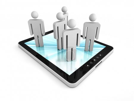 Tablet PC With People Group Icons