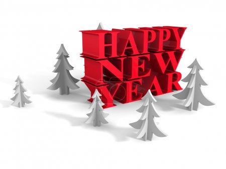 Photo for HAPPY NEW YEAR Words With Christmas Trees Around. 3d Render Illustration - Royalty Free Image