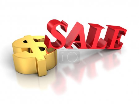 SALE Word With Golden Dollar Symbol