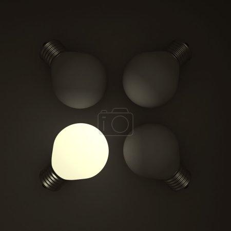 Photo pour Différent concept d'entreprise ampoule dans le noir. Illustration de rendu 3d - image libre de droit