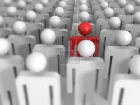 Photo pour Différentes 3d homme icône hors de la foule. Concept de leadership 3d Render Illustration - image libre de droit