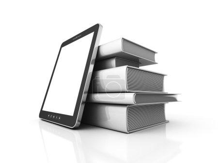 Foto de Tablet PC con pila de libros blancos en blanco. Ilustración de renderizado 3d - Imagen libre de derechos