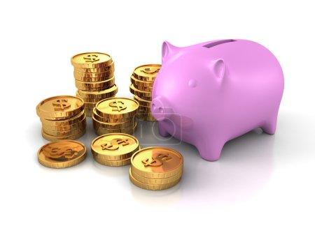 Photo pour Tirelire Tirelire avec Piles de Monnaie Dollar Pièces d'Or. Illustration de rendu 3d - image libre de droit