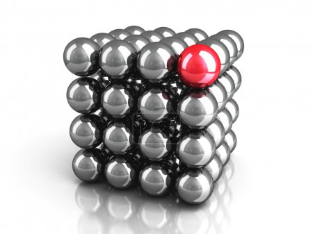 Different Red Sphere As Leadership Concept