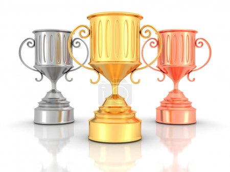 Golden, Silver, Bronze Trophy Cups