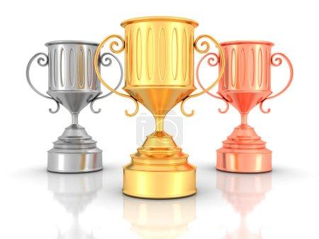 Golden, Silver, Bronze Trophy Cups