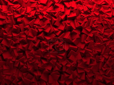Red Chaotic Cubes Wall Background