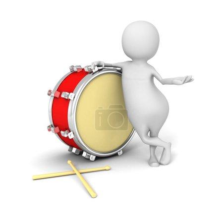 Photo pour Homme 3d blanc avec tambour rouge. Illustration de rendu 3d - image libre de droit