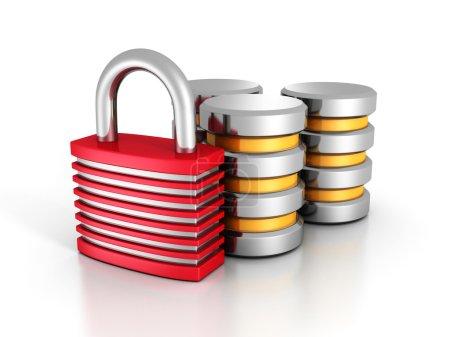 Photo pour Concept de sécurité de base de données avec cadenas. illustration de rendu 3D - image libre de droit