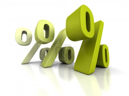 Photo pour Trois symboles de pourcentage verts sur fond blanc. Illustration de rendu 3D - image libre de droit