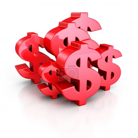 Photo pour Ensemble de signes de Dollar rouge sur fond blanc. Illustration de rendu 3D - image libre de droit