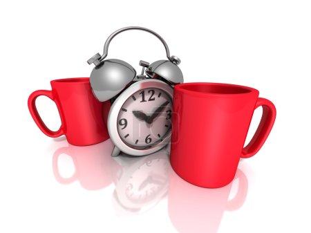 Photo pour Pause pour concept de café avec tasses rouges et réveil rétro sur blanc - image libre de droit