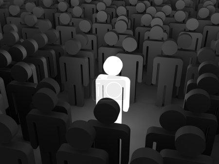 Photo pour Se démarquer du concept de foule. Icônes de personnes 3d . - image libre de droit