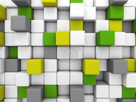 Photo pour 3d cubes brillants colorés blocs fond mural . - image libre de droit