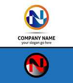Vector illustration of abstract icons based on the letter N logo
