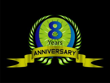 Celebrating 8 Years Anniversary - Green Laurel Wreath Seal with Ribbon