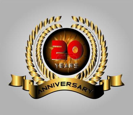 Illustration pour Célébration du 20e anniversaire étiquette rétro - image libre de droit