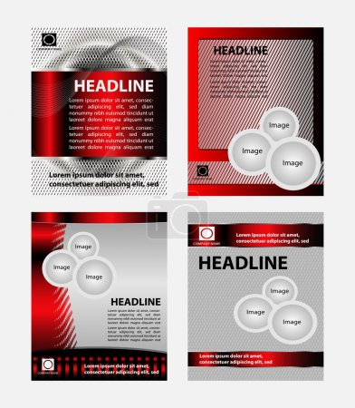 Red vector brochure  booklet cover design templates collection
