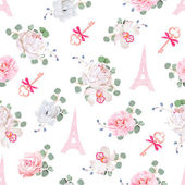 Romantic Paris seamless vector print White and pink pattern with Eiffel towers keys and flower bouquets Camellia orchid rose peony eucaliptus anemone