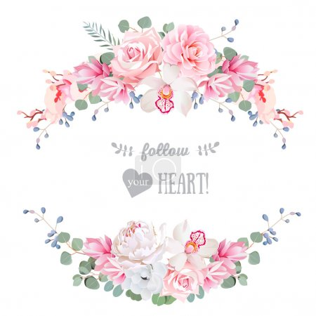 Illustration for Cute wedding floral vector design frame. Rose, peony, orchid, anemone, pink flowers, eucaliptus leaves. Floral banner stripe elements. - Royalty Free Image