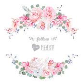 Cute wedding floral vector design frame Floral banner stripe el