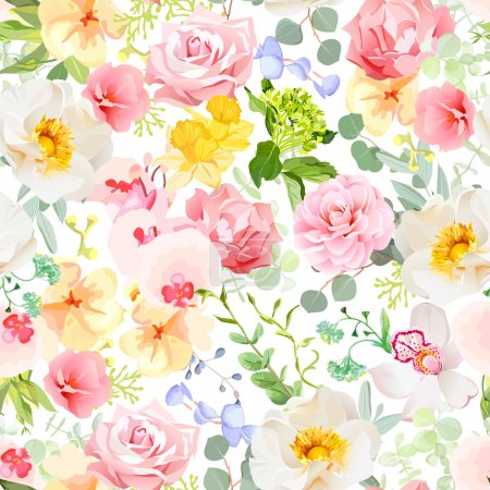 Illustration for Multicolor floral seamless vector print with varied plants and flowers. Orchid, rose, hydrangea, carnation, daffodil, camellia, narcissus, wildflowers. Summer cheerful pattern. - Royalty Free Image