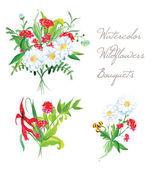 Watercolor bouquets summer vector design set