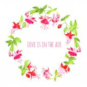 Blooming fuchsia vector design round frame