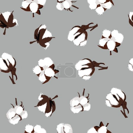 Illustration for Cotton bolls gray seamless pattern, EPS10 file - Royalty Free Image